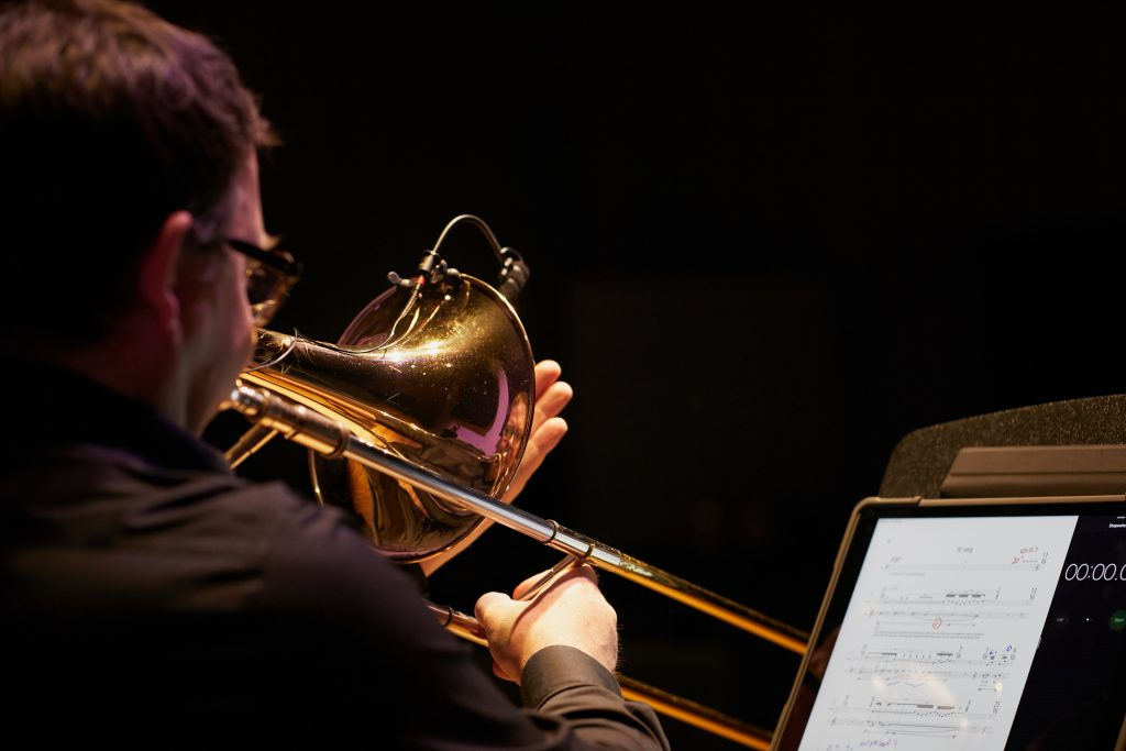 The Australian premiere of 'Membrane'. Composer Richard Barrett. Ben Marks trombone.