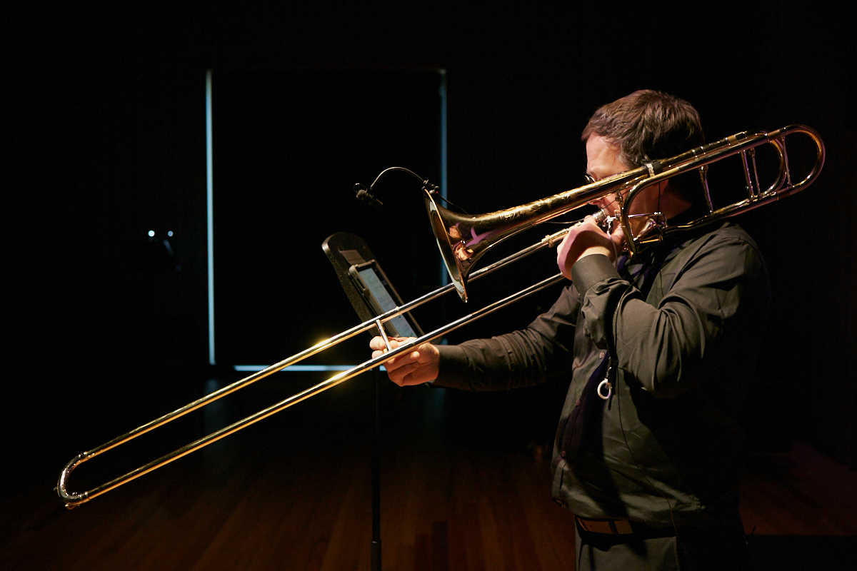 Ben Marks performs Richard Barrett's 'membrane' for solo trombone and live electronics.